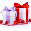 Two White boxs tied with a satin ribbon bow, red Christmas balls — Stock Photo