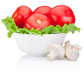 Fresh red tomatoes with lettuce in Bowl and Portabello Mushroom — Stock Photo