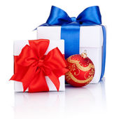 Two White boxs tied with Red and Blue satin ribbon bow, Christma — Stock Photo
