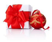 White gift box tied with Red ribbon and decorations Christmas ba — Stock Photo