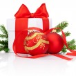White gift box tied with Red ribbon, decorations Christmas ball — Stock Photo