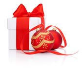 White gift box tied with Red ribbon and two decorations Christma — Stock Photo
