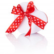 Heart Shaped Box Gift tied with ribbon with a bow Isolated on wh — Stock Photo #39624603