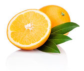 Sliced orange fruit with leaves isolated on white background — Stock Photo