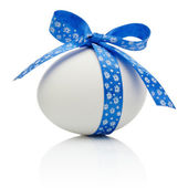 Easter egg with festive blue bow isolated on white background — Foto de Stock