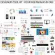 Designers toolkit - Four web collections in one — Imagens vectoriais em stock