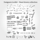 Designers toolkit - hand drawn collection — Stok Vektör