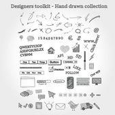 Los diseñadores toolkit - colección dibujados a mano — Vector de stock