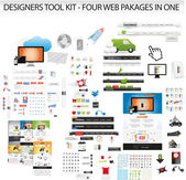 Designers toolkit - Four web collections in one — Stock vektor