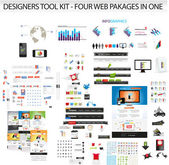 Designers toolkit - Four web collections in one — Vettoriale Stock