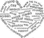 Internet marketing with heart symbol — Stock Vector