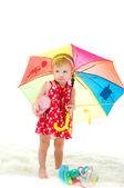 Dziewczyna z parasolem na jest białe tło — Zdjęcie stockowe
