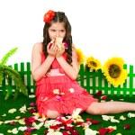 Постер, плакат: Girl and petals