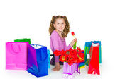 The girl and gift — Stock Photo