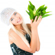 Blond girl with a bouquet of lilies of the valley - Stock Photo