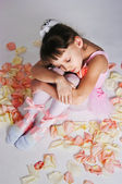 The tired small ballerina — Stock Photo