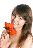 Object Name : The girl with poppies — Stock Photo