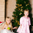 The girls under the Christmas fir-tree - Stock Photo