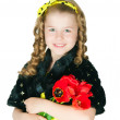 Girl with a bouquet of tulips — Stock Photo