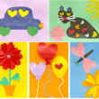 Ideas of creation of children's cards by the Valentine's day — Stock Photo #4477463