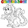Coloring book dragon theme image 2 - Stock Vector