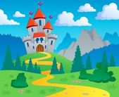 Castelo tema paisagem 1 — Vetorial Stock