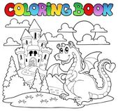 Coloring book dragon theme image 1 — Stock Vector