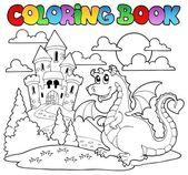 Coloring book dragon theme image 1 — Stock Vector