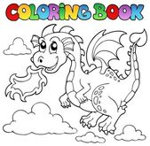 Colorear imagen libro dragon tema 3 — Vector de stock