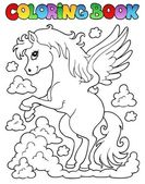 Coloring book pegasus theme 1 — Stock Vector