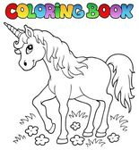 Coloring book unicorn theme 1 — Stock Vector
