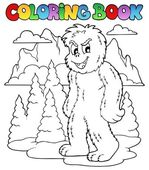 Coloring book with yeti 1 — Stock Vector