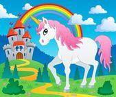 Fairy tale unicorn theme image 2 — Stockvector