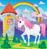 Image de conte de fée licorne thème 3 — Vecteur