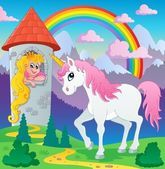 Imagen de hadas unicornio tema 3 — Vector de stock
