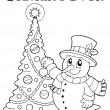 Coloring book Christmas thematics 1 — Stock Vector