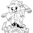 Coloring book Halloween scarecrow — Stock Vector