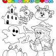 Coloring book Halloween topic 8 — Stock Vector