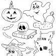 Coloring book Halloween topic 9 — Stock Vector