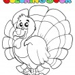 Coloring book happy turkey — Stock Vector