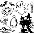 Stock Vector: Halloween drawings collection 1