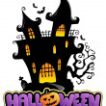 Scene with Halloween sign 1 — Stock Vector
