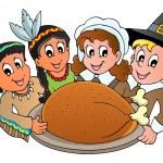 Thanksgiving pilgrim theme 3 — Stock Vector
