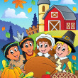 Thanksgiving pilgrim theme 4 — Stock Vector