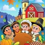 Thanksgiving pilgrim theme 4 — Stock Vector