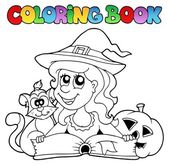 Coloring book Halloween topic 6 — Stock Vector