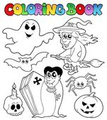 Coloring book Halloween topic 7 — Stock Vector
