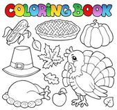 Coloring book Thanksgiving image 1 — Stock Vector