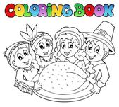 Coloring book Thanksgiving image 3 — Stock Vector