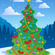 Stock Vector: Christmas tree theme 3